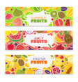 fruits banners colorful fruit design summer vector image vector image