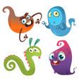 funny cartoon monsters set halloween design vector image vector image