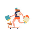 funny hipster girl ride on skateboard hold vector image