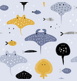 hand drawn seamless pattern with fish vector image vector image