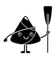 kawaii happy rice dumpling holding wooden oar vector image vector image
