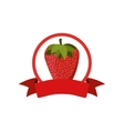 label silhouette colorful with strawberry vector image