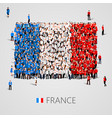 large group of people in the france flag shape vector image vector image