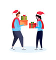 man woman couple giving present each other happy vector image vector image