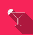 martini glass with long shadow cocktail with lime vector image