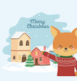 merry christmas celebration cute fox with ugly vector image vector image