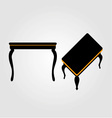 Modern wooden coffee table elevation and 3d vector image vector image
