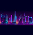 neon megapolis background with buildings vector image