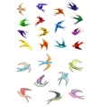 Origami and outline swallows birds vector image