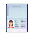passport sample data personal page female vector image vector image