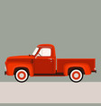 red pickup flat style vector image vector image