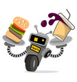 robot waiter with tray and food vector image