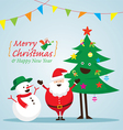 Santa Claus Snowman and Tree Characters vector image