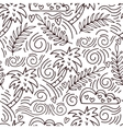 seamless hand-drawn pattern with palm trees and vector image