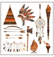Set elements ethnic style beads wigwam fire vector image