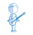 shadow guitar body man cartoon vector image vector image