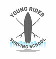 Surfing school logo monochrome surfboard with