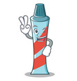 two finger toothpaste character cartoon style vector image