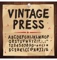 Vintage Press Font vector image vector image