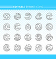 water wave simple black line icons set vector image vector image