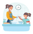 young beautiful mother teaches daughter prepare vector image