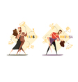Dancing Pairs 2 Retro Cartoon Templates vector image
