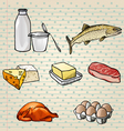 Colorful Food Icons Set vector image