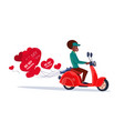 african american woman riding retro motor bike vector image