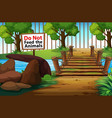 background scene park with sign do not fee