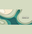 background with deep green color paper cut waves vector image