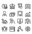 banking financial icon set in thin line style vector image vector image
