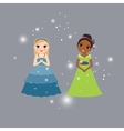 Beautiful princess cartoon characters vector image vector image