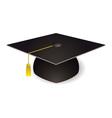 black graduation mortar board hat with gold trim vector image vector image