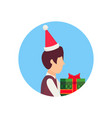 boy wearing hat holding gift box happy new year vector image vector image