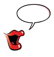 Cartoon female mouth with speech bubble vector image