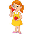 cartoon little girl eating apples vector image vector image