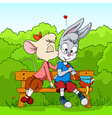 cartoon mouse kissing rabbit vector image