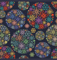 christmas pattern colorful snowflakes in round vector image vector image