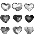 Collection of nine water color black hearts vector image