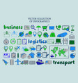 colored sketch delivery elements collection vector image vector image