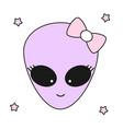 cute cartoon alien girl vector image vector image