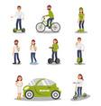 eco friendly alternative transportation vehicle vector image vector image