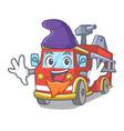 elf fire truck character cartoon vector image vector image