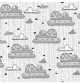 ethnic rainy clouds seamless pattern vector image