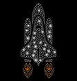 flare mesh carcass space shuttle launch with flare vector image vector image