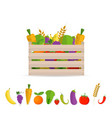 fresh fruits and vegetables in a box vector image