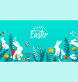 happy easter greeting frame banner background with vector image vector image