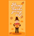 Happy thanksgiving day card with boy leafs and