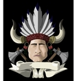 Indian chief with a tomahawk vector image