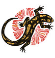 lizard - fiery salamander and fire circle vector image
